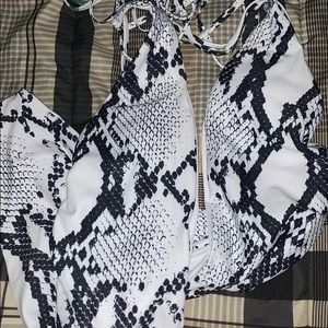 One piece snake print bathing suit